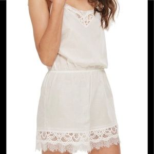TOPSHOP Premium Cotton & Lace Teddy Romper White 8